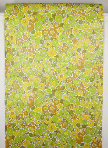 1970s Retro Vintage Wallpaper Brown Yellow Green Flowers