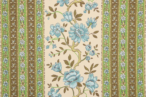 1970s Retro Vintage Wallpaper Blue Flowers Blue Green Stripe