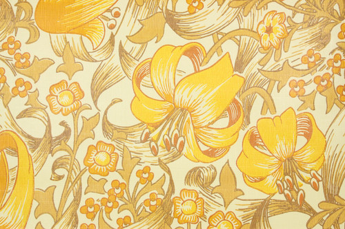 1970s Retro Vintage Wallpaper Yellow Orange Flowers