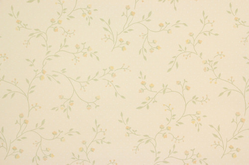 1970s Vintage Wallpaper Small Yellow Floral Vine