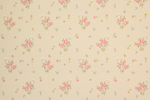 1970s vintage wallpaper small pink bouquets on beige
