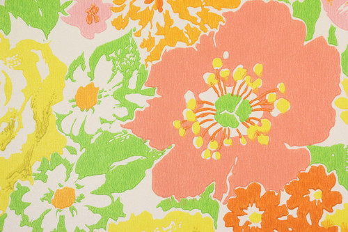 1970s Retro Vintage Wallpaper Pink Yellow Green Flowers
