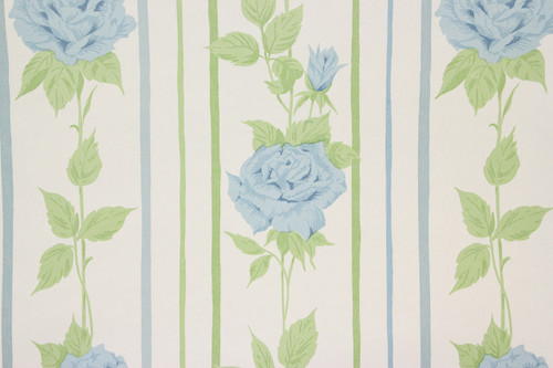 1970s Retro Vintage Wallpaper Blue Rose Vinyl