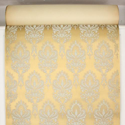 1970s Retro Vintage Flock Wallpaper White Flock on Gold