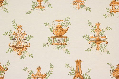 1950s Vintage Wallpaper Orange Kitchen Clocks