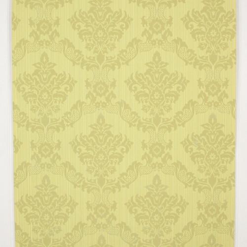 1970s Retro Vintage Flocked Wallpaper Yellow Green Damask