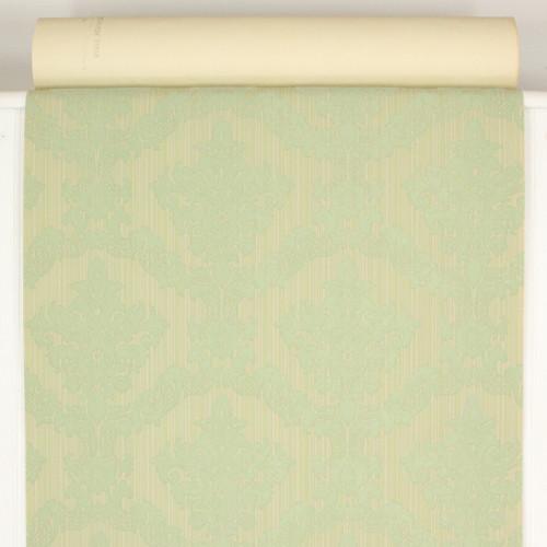1970s Retro Vintage Flocked Wallpaper Green Damask