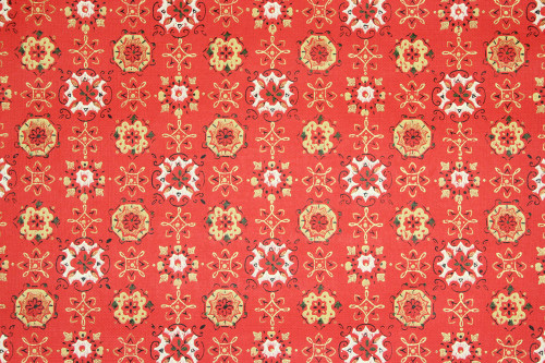 1960s Vintage Wallpaper Red Gold Geometric