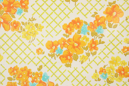 1970s vintage wallpaper orange aqua flowers