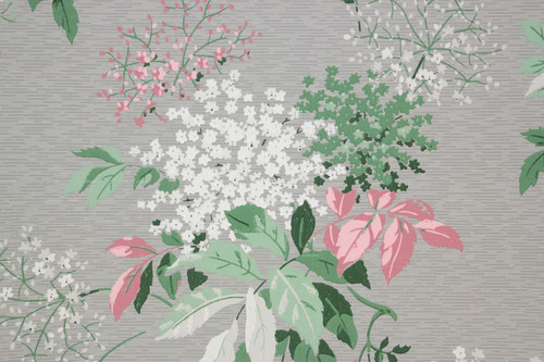 1950s vintage wallpaper pink and white flowers