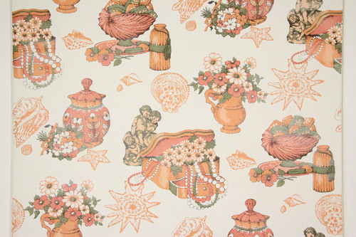 1970s Retro Vintage Wallpaper Orange Powder Room Cherub