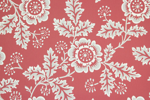 1950s vintage wallpaper gray flowers on red
