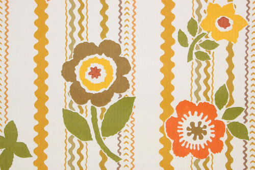 1970s Retro Vintage Wallpaper Rick Rack Brown Flowers