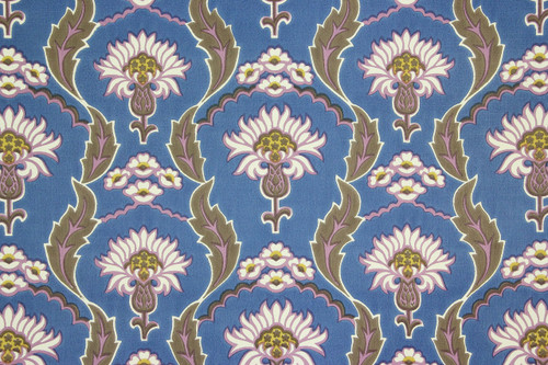 1970s Retro Vintage Wallpaper Flowers on Blue