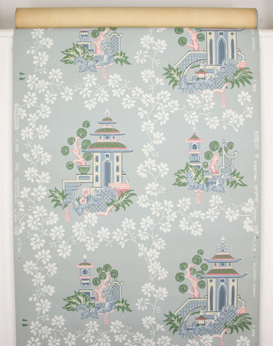 1950s Vintage Wallpaper Blue Chinoiserie