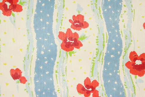 1970s Retro Vintage Wallpaper Red Poppies