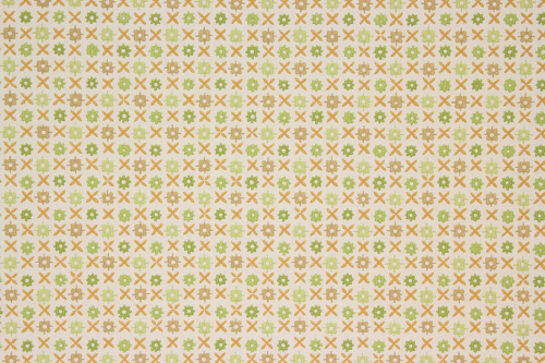 1960s Vintage Wallpaper Green Brown Geometric