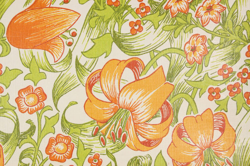1970s Retro Vintage Wallpaper Orange Flowers