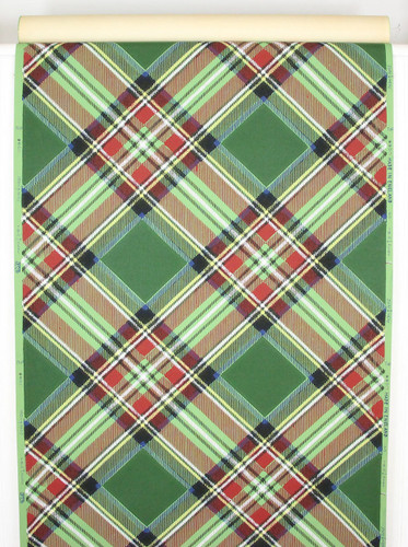 1950s Vintage Wallpaper Red Green Plaid