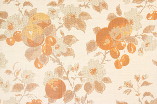 1970s Vintage Wallpaper Cherries and Orange Flowers