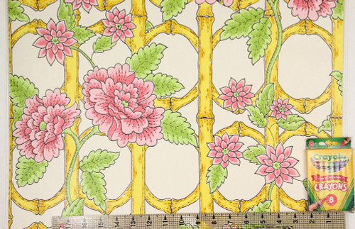 1970s Retro Vintage Wallpaper Pink Flowers on Trellis