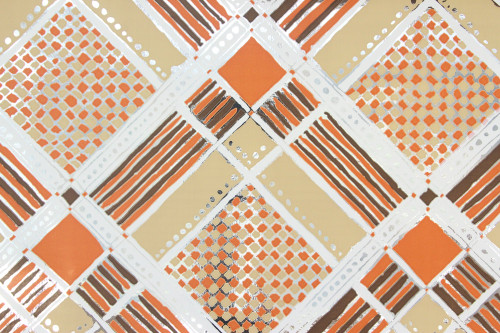 1970s Retro Vintage Wallpaper Mylar Orange and Brown