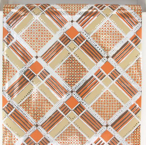 1970s Retro Vintage Wallpaper Mylar Orange and Brown