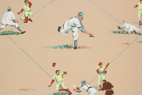 1950s Vintage Novelty Wallpaper Baseball Beige