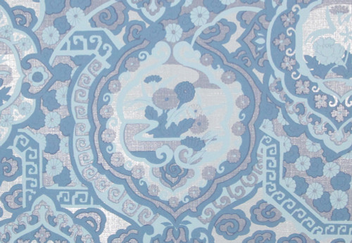1970s Retro Vintage Wallpaper Blue Silver Foil