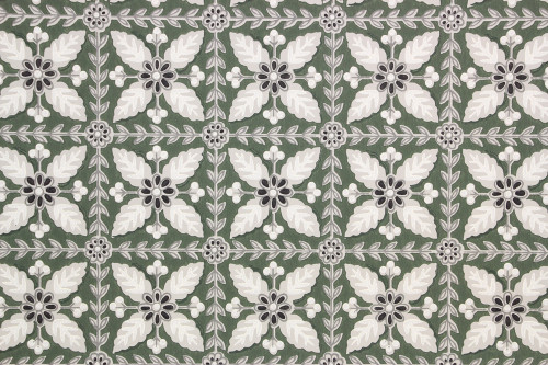 1940s Vintage Wallpaper Floral Geometric on Green