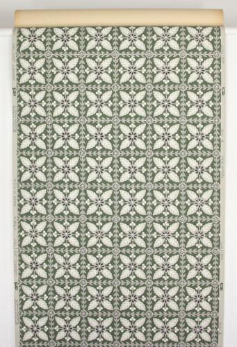 1940s Vintage Wallpaper Floral Geometric on Green