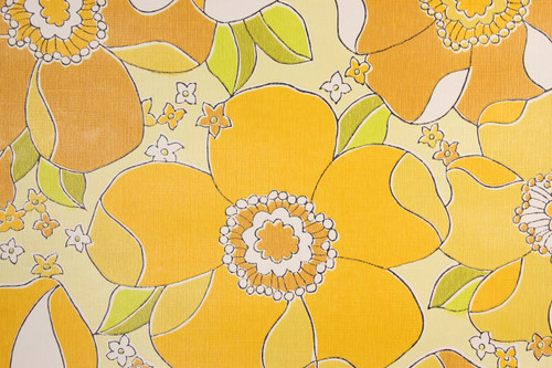 1970s Retro Vintage Wallpaper Large Yellow Flowers