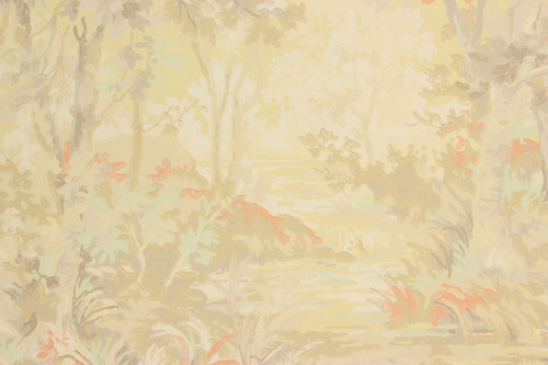 1940s Vintage Wallpaper Scenic Orange Yellow Trees River