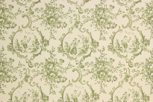1950s Vintage Wallpaper Green Scenic Toile Thomas Strahan
