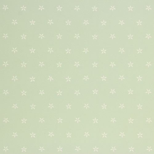 1940s Vintage Wallpaper White Star Geometric on Green