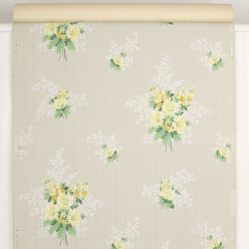 1940s Vintage Wallpaper Yellow Bouquets on Gray