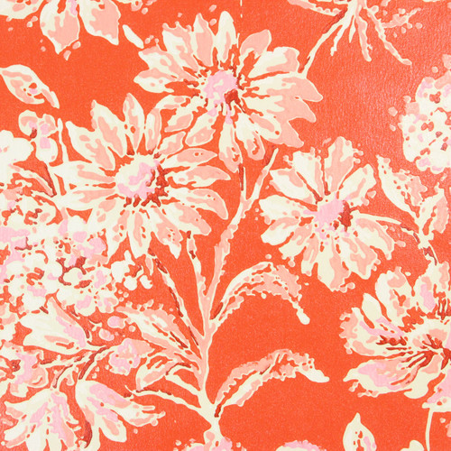 1970s Retro Vintage Wallpaper Pink White Flowers on Red