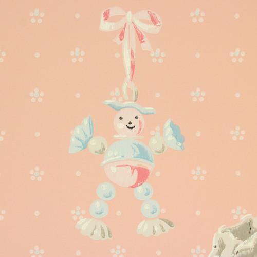 1940s Vintage Wallpaper Pink Nursery Baby Rattle