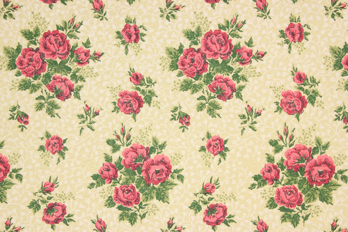 1950s Vintage Wallpaper Red Roses on Beige