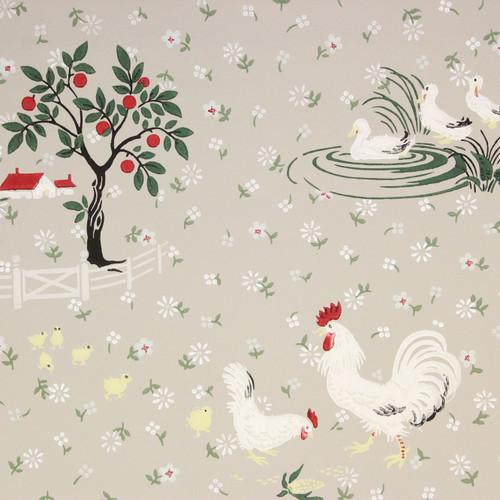 1940s Vintage Wallpaper Farmyard Barn Chickens Ducks on Gray