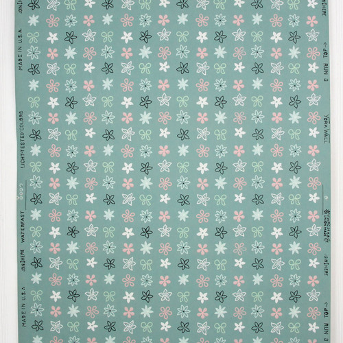 1950s Vintage Wallpaper Pink White Floral Geometric on Green