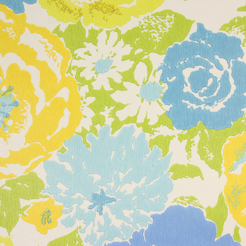 1970s Retro Vintage Wallpaper Blue Yellow Flowers