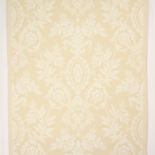 1940s Vintage Wallpaper White Flowers Scrolls