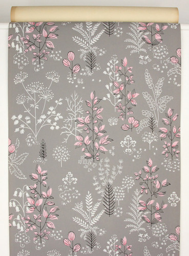 1940s Vintage Wallpaper Pink White Flowers on Gray