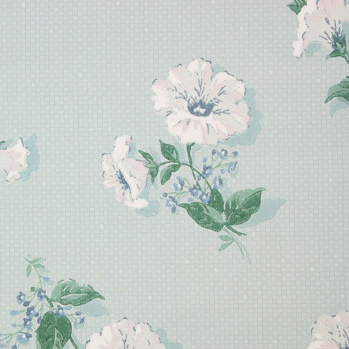 1940s Vintage Wallpaper White Flowers on Small Blue Check