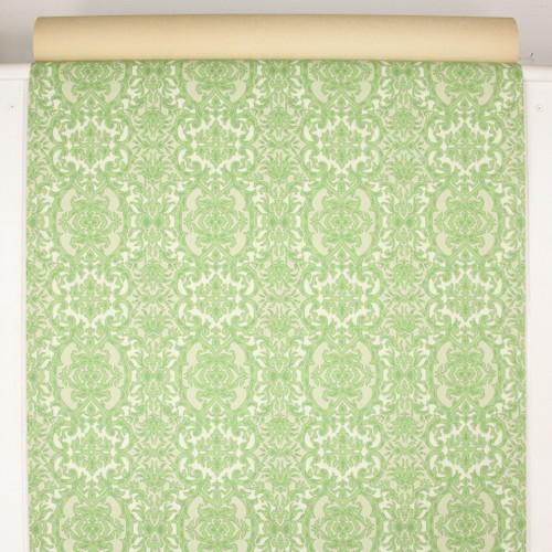 1960s Vintage Wallpaper Green Beige Damask