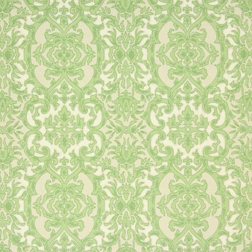 1960s Vintage Wallpaper Green Beige Damask
