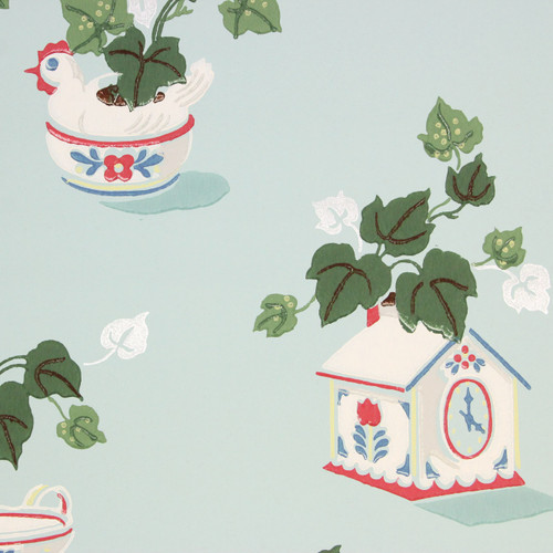 1940s Vintage Wallpaper Ivy with Red Blue Kitchen Theme