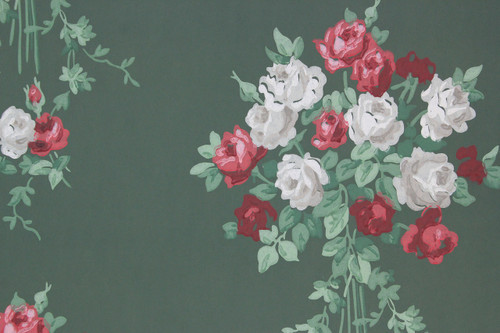 1940s Vintage Wallpaper Red White Rose Bouquets