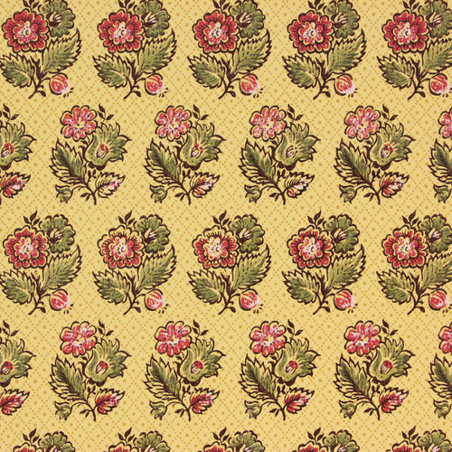 1970s Vintage Wallpaper Red Flowers on Yellow